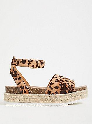 Plus Size Leopard Faux Suede Espadrille Cork Flatform (WW), ANIMAL, hi-res