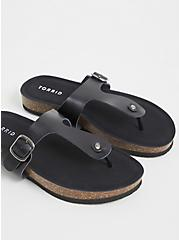 Black Faux Leather T-Strap Sandal (WW), BLACK, alternate