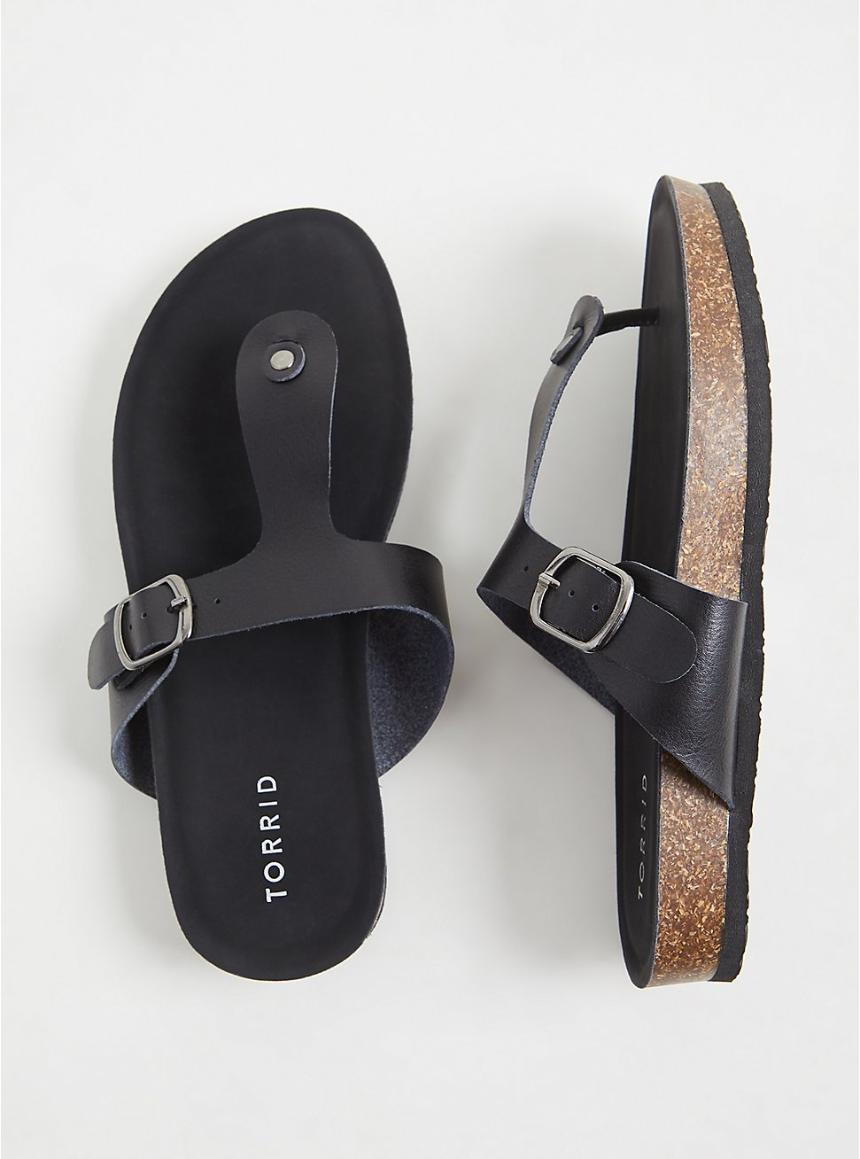 Black Faux Leather T-Strap Sandal (WW), BLACK, hi-res