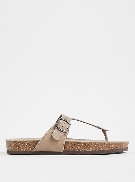Taupe Faux Suede T-Strap Sandal (WW), , alternate