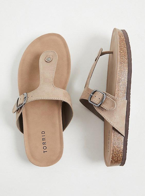 Taupe Faux Suede T-Strap Sandal (WW), , hi-res