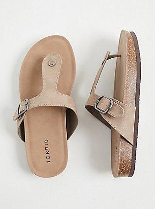 Plus Size Taupe Faux Suede T-Strap Sandal (WW), TAN/BEIGE, hi-res