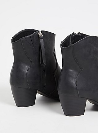 Black Faux Leather Western Bootie (WW), BLACK, alternate