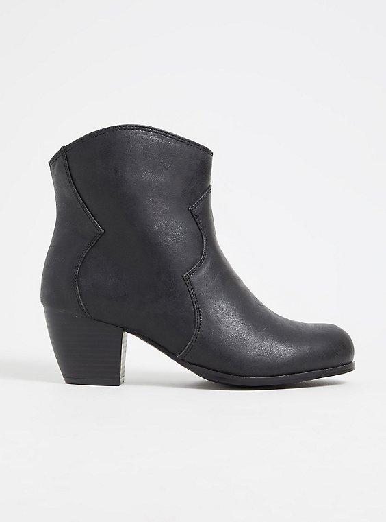 Black Faux Leather Western Bootie (WW), BLACK, hi-res