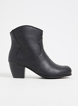 Plus Size Black Faux Leather Western Bootie (WW), BLACK, hi-res