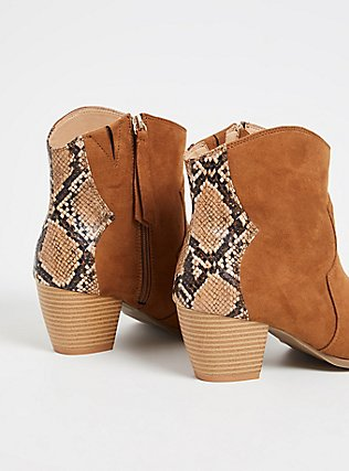 Cognac Faux Suede & Snakeskin Print Faux Leather Western Bootie (WW), BROWN, alternate