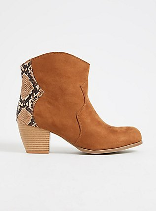 Plus Size Cognac Faux Suede & Snakeskin Print Faux Leather Western Bootie (WW), BROWN, hi-res