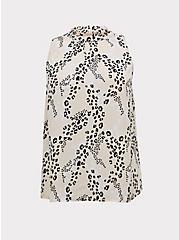 Light Pink Leopard Georgette Mock Neck Sleeveless Blouse, LEOPARD - PINK, hi-res