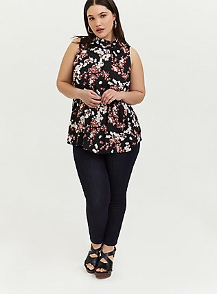 Black Floral Georgette Mock Neck Sleeveless Blouse, , alternate
