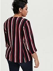 Black & Fuchsia Pink Stripe Open Front Blazer, , alternate