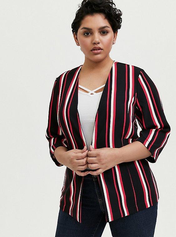 Black & Fuchsia Pink Stripe Open Front Blazer, , hi-res