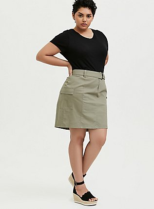 Light Olive Green Twill Cargo Mini Skirt, VETIVER, alternate