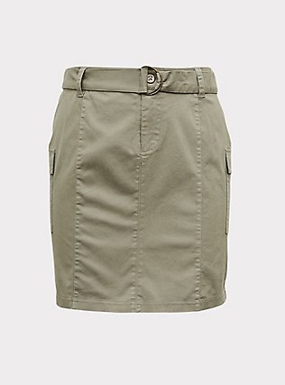 Light Olive Green Twill Cargo Mini Skirt, VETIVER, flat