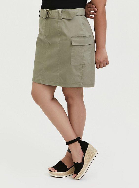 Light Olive Green Twill Cargo Mini Skirt, VETIVER, hi-res