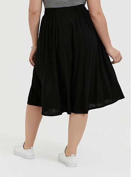 Black Button Midi Skirt, DEEP BLACK, alternate