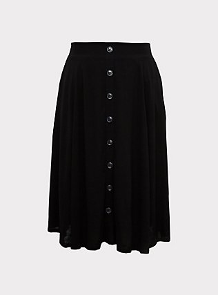 Black Button Midi Skirt, DEEP BLACK, flat