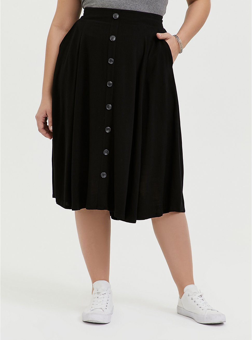 Black Button Midi Skirt, DEEP BLACK, hi-res