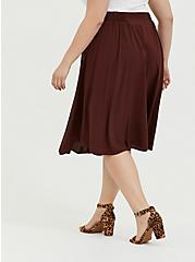 Chocolate Brown Challis Button Midi Skirt, CHOCOLATE BROWN, alternate