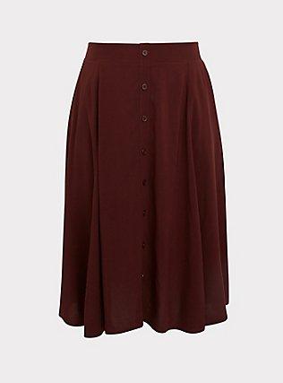 Chocolate Brown Challis Button Midi Skirt, CHOCOLATE BROWN, flat