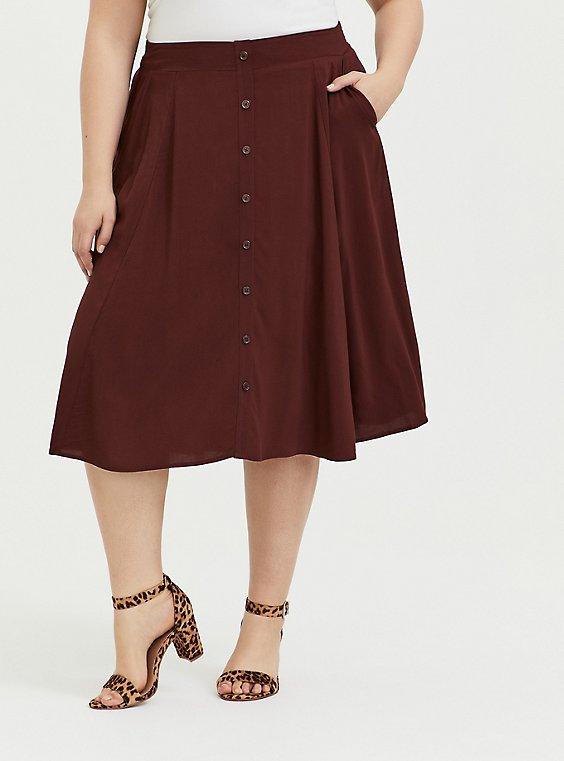 Chocolate Brown Challis Button Midi Skirt, , hi-res