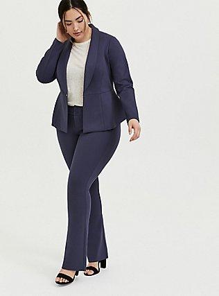 Studio Signature Premium Ponte Stretch Trouser - Slate Grey, OCEAN BLUE, hi-res