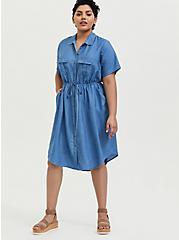 Blue Chambray Button Front Drawstring Shirt Dress, MEDIUM WASH, alternate