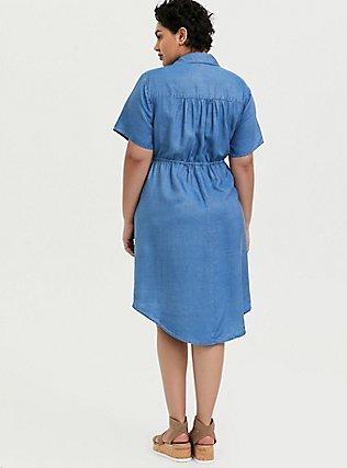 Plus Size Chambray Drawstring Shirt Dress, MEDIUM WASH, alternate
