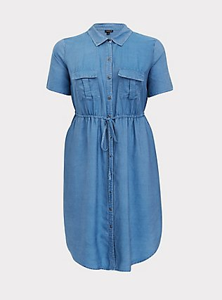Plus Size Chambray Drawstring Shirt Dress, MEDIUM WASH, flat