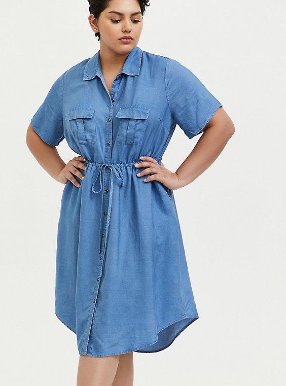 Blue Chambray Button Front Drawstring Shirt Dress, , hi-res