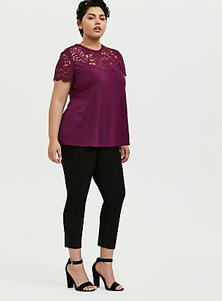 Plum Purple Crepe Lace Sleeve Top, DARK PURPLE, alternate