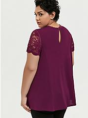 Plum Purple Crepe Lace Sleeve Top, DARK PURPLE, alternate
