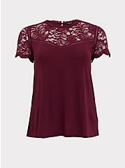 Plum Purple Crepe Lace Sleeve Top, DARK PURPLE, hi-res