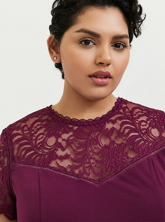 Plus Size Plum Purple Crepe Lace Sleeve Top, , hi-res