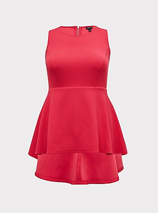 Fuchsia Pink Textured Ponte Hi-Lo Peplum Top, PINK PASSION, flat