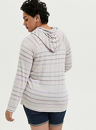Ivory Multi Stripe Cowl Neck Hoodie, MULTI STRIPE, alternate