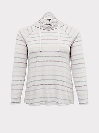 Ivory Multi Stripe Cowl Neck Hoodie, MULTI STRIPE, flat