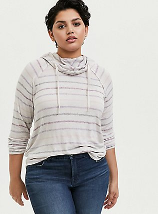 Ivory Multi Stripe Cowl Neck Hoodie, MULTI STRIPE, hi-res