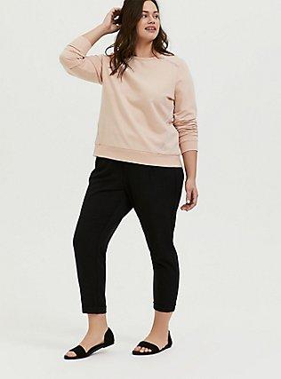 Plus Size Tan Fleece Rhinestone Sweatshirt, TAN/BEIGE, alternate