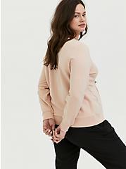 Tan Fleece Rhinestone Sweatshirt, TAN/BEIGE, alternate