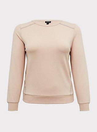 Plus Size Tan Fleece Rhinestone Sweatshirt, TAN/BEIGE, flat