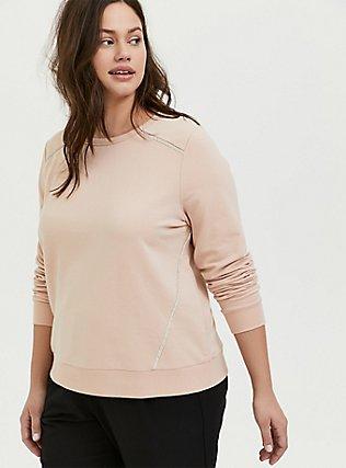 Plus Size Tan Fleece Rhinestone Sweatshirt, TAN/BEIGE, hi-res