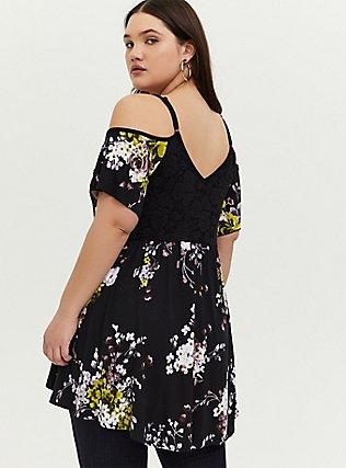 Plus Size Super Soft Black Floral & Lace Cold Shoulder Babydoll Top, FLORAL - BLACK, alternate