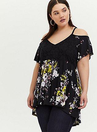 Plus Size Super Soft Black Floral & Lace Cold Shoulder Babydoll Top, FLORAL - BLACK, hi-res