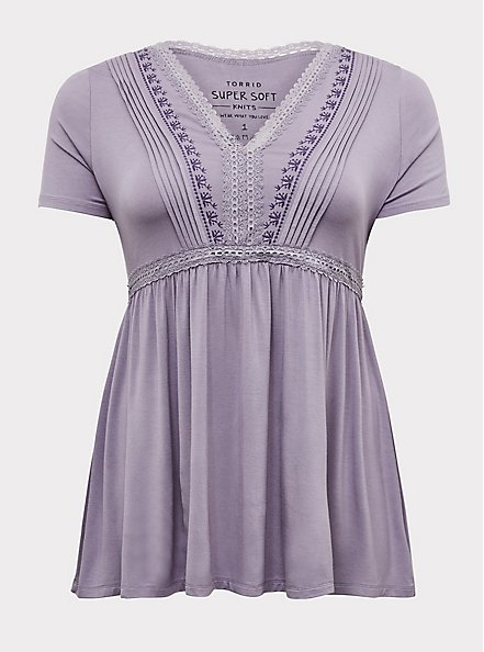 Super Soft Slate Grey Embroidered Pintuck Babydoll Top, GRAY RIDGE, hi-res