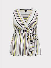 Multi Stripe Crepe Wrap Babydoll Tank, MULTI STRIPE, hi-res
