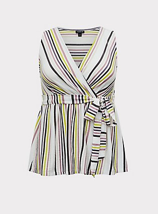 Plus Size Multi Stripe Crepe Wrap Babydoll Tank, MULTI STRIPE, flat