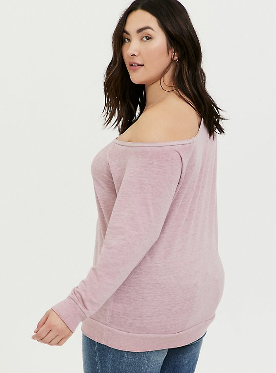 Plus Size Mauve Pink Burnout Terry Off Shoulder Sweatshirt, MAUVE SHADOWS, hi-res