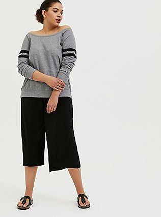 Heather Grey Off Shoulder Football Sweatshirt, HEATHER GREY, alternate
