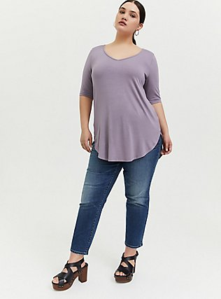 Super Soft Slate Grey Favorite Tunic Tee , GRAY RIDGE, alternate