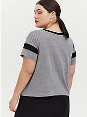 Crop Relaxed Fit Ringer Tee - Triblend Jersey Heather Grey, HEATHER GREY, alternate